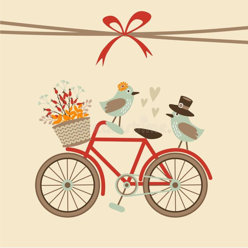 Gulligt retro bröllop, födelsedag, baby showerkort, inbjudan Cykel och fåglar Bakgrund för höstnedgångillustration stock illustrationer