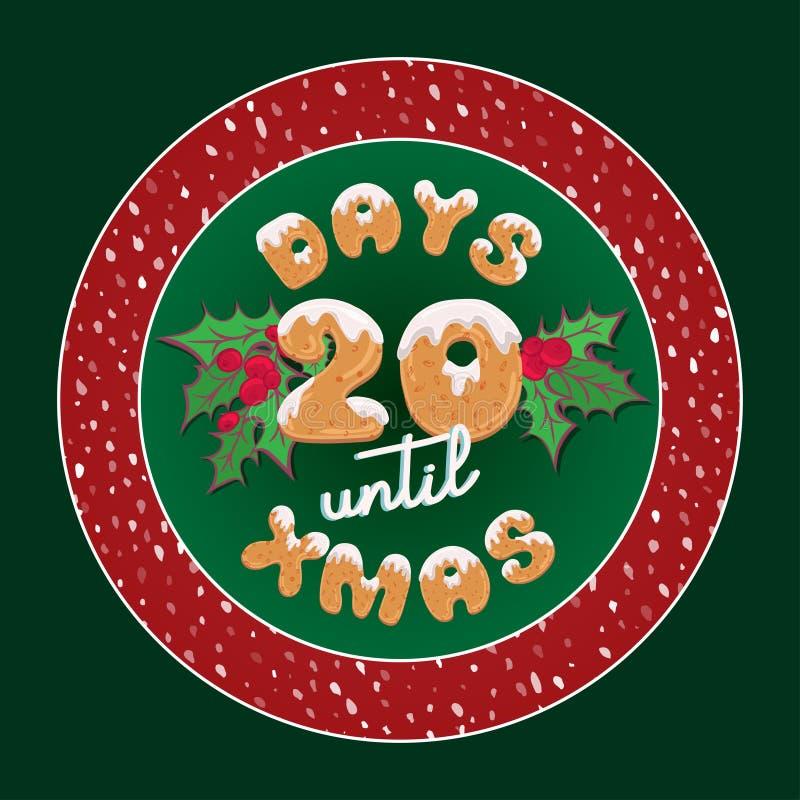 Gulligt retro feriejulkort Etikett för gåva för tappningadventkalender för garneringplatta- eller affischdesign med typografitext stock illustrationer