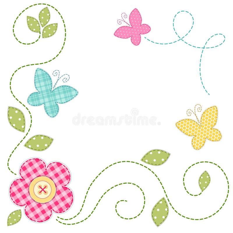 Gulligt retro vårkort som lapptygapplique av blommor och fjärilar vektor illustrationer
