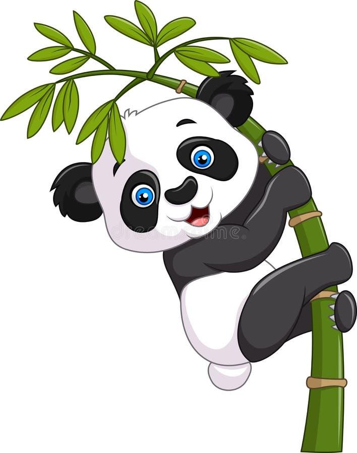 Gulligt roligt behandla som ett barn pandan som hänger på ett bambuträd stock illustrationer