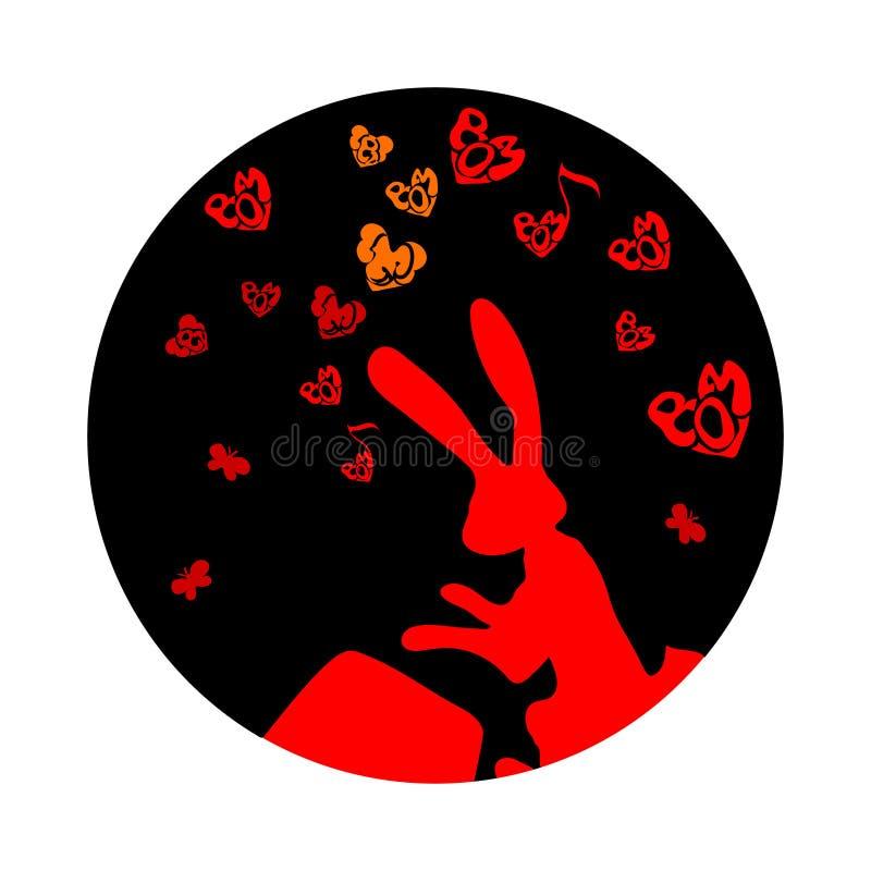 Gulligt roligt djur, kanin eller hare som dunkar valsen Vektortecknad film Liten röd hjärta- och fjärilsnatt Mitt--höst festival  royaltyfri illustrationer