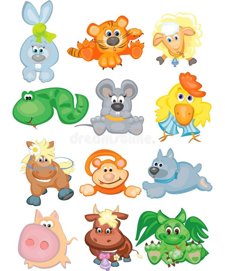 gulligt roligt horoskop för djur stock illustrationer