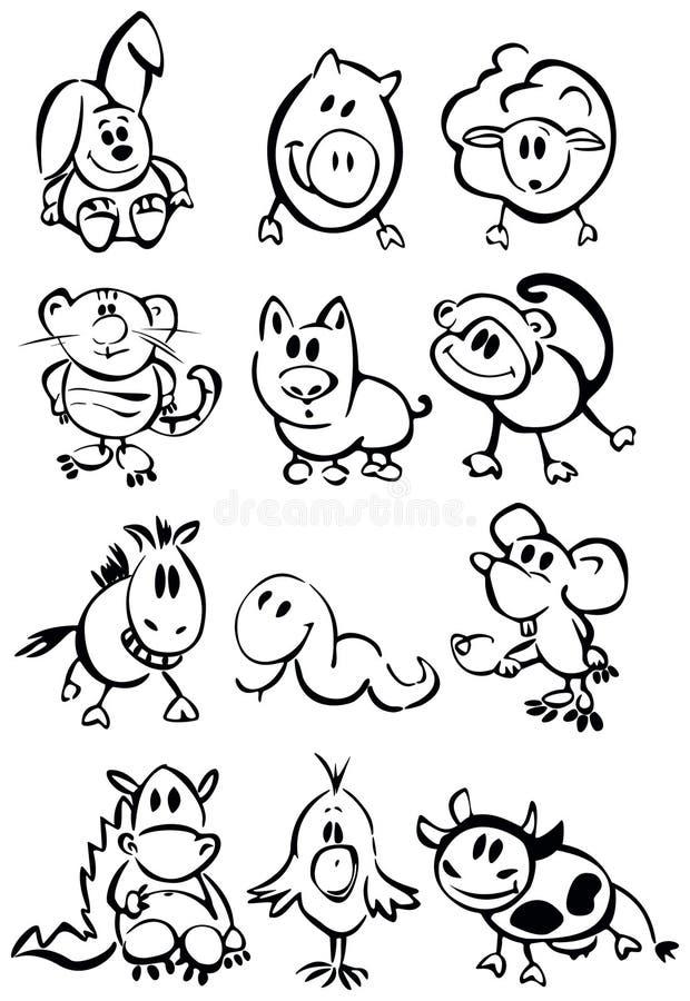 gulligt roligt horoskop för djur royaltyfri illustrationer