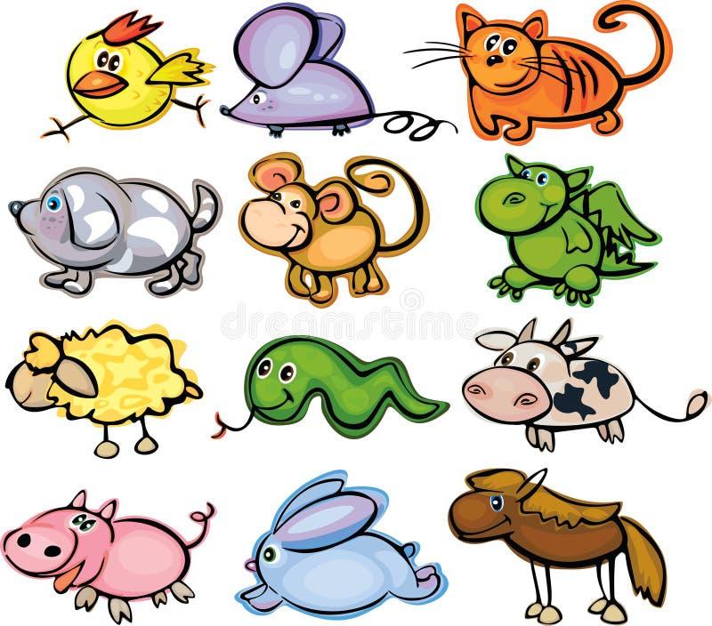 gulligt roligt horoskop för djur vektor illustrationer