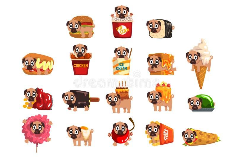 Gulligt roligt mopshundtecken som uppsättning för snabbmatingrediens av vektorillustrationer stock illustrationer