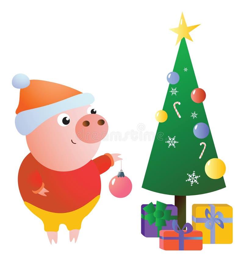Gulligt roligt piggy dekorerar julgranen royaltyfri illustrationer