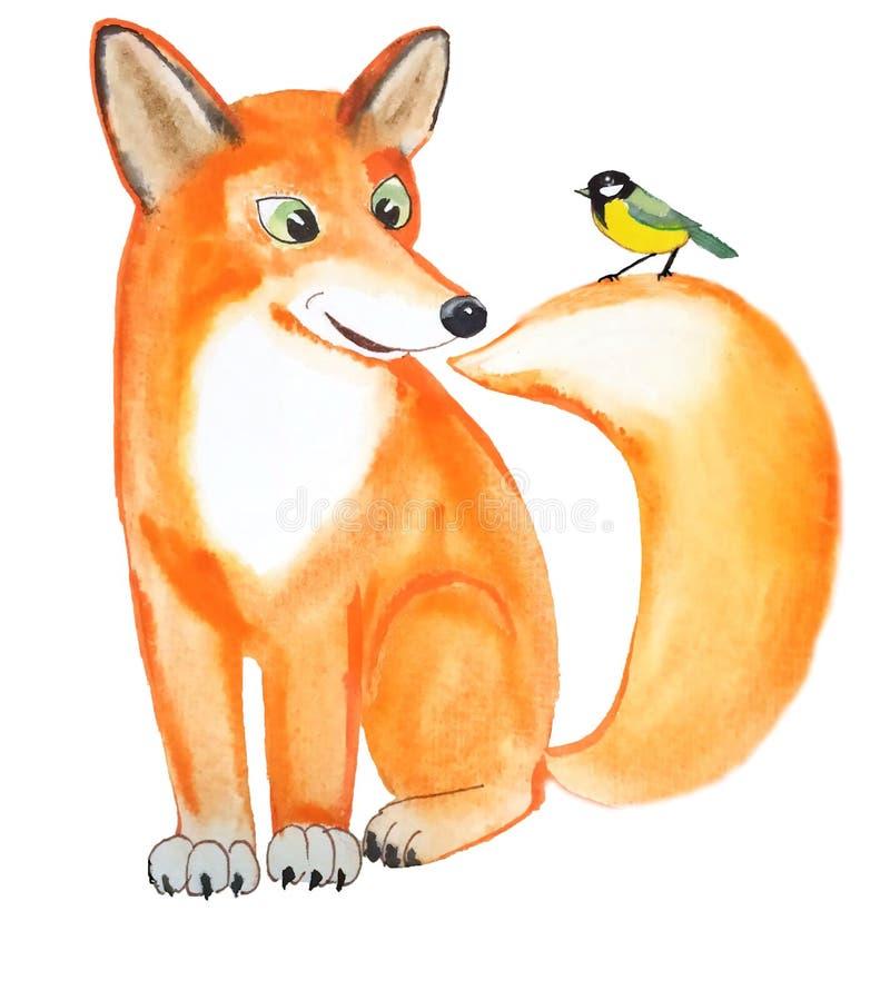 Gulligt roligt rävsammanträde med en fågelmes på den fluffiga svansen vektor illustrationer