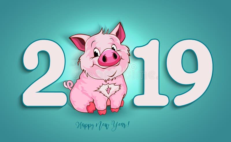 Gulligt roligt svin lyckligt nytt år Kinesiskt symbol av det 2019 året stock illustrationer