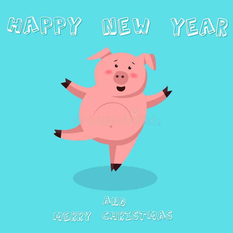 Gulligt roligt svin lyckligt nytt år Kinesiskt symbol av det 2019 året Utmärkt festligt gåvakort Vektorillustration på stock illustrationer