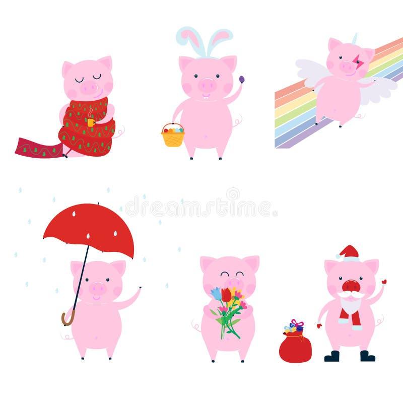 Gulligt roligt svintecken - uppsättning - symbol av det 2019 kinesiska nya året vektor illustrationer