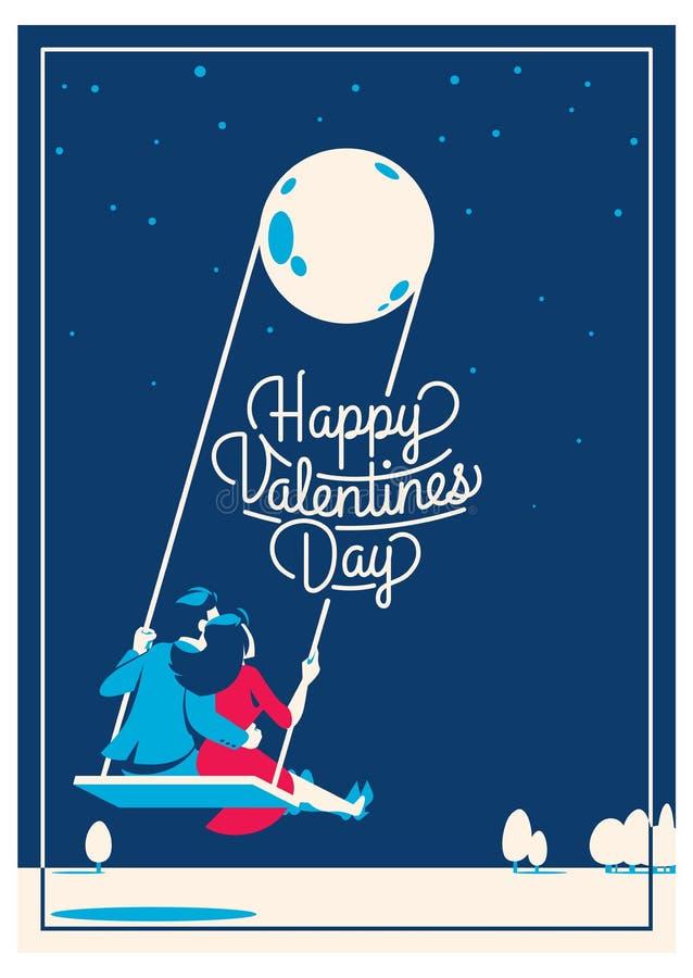 Gulligt romantiskt kort för dagen för valentin` s, vektorillustration stock illustrationer