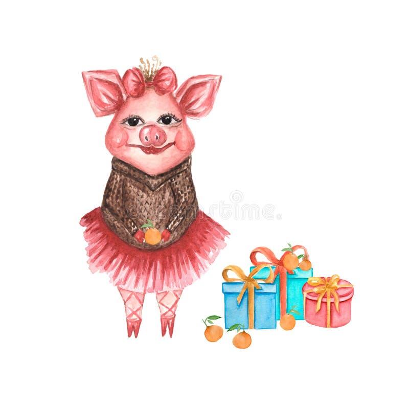 Gulligt rosa svin för vattenfärg med askar av gåvor som isoleras på whitebackground göra perfekt för kort, födelsedaginbjudantext stock illustrationer