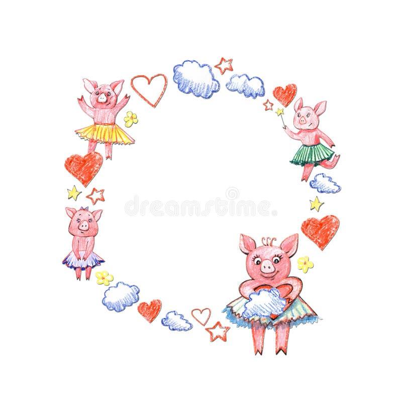 Gulligt rosa svin i blom- ram Symbol av 2019 nya år Härligt hälsningkort Tryck med det lyckliga djuret vektor illustrationer