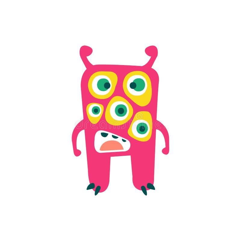 Gulligt rosa tecknad filmmonster, sagolik oerhörd varelse, rolig främmande vektorillustration vektor illustrationer