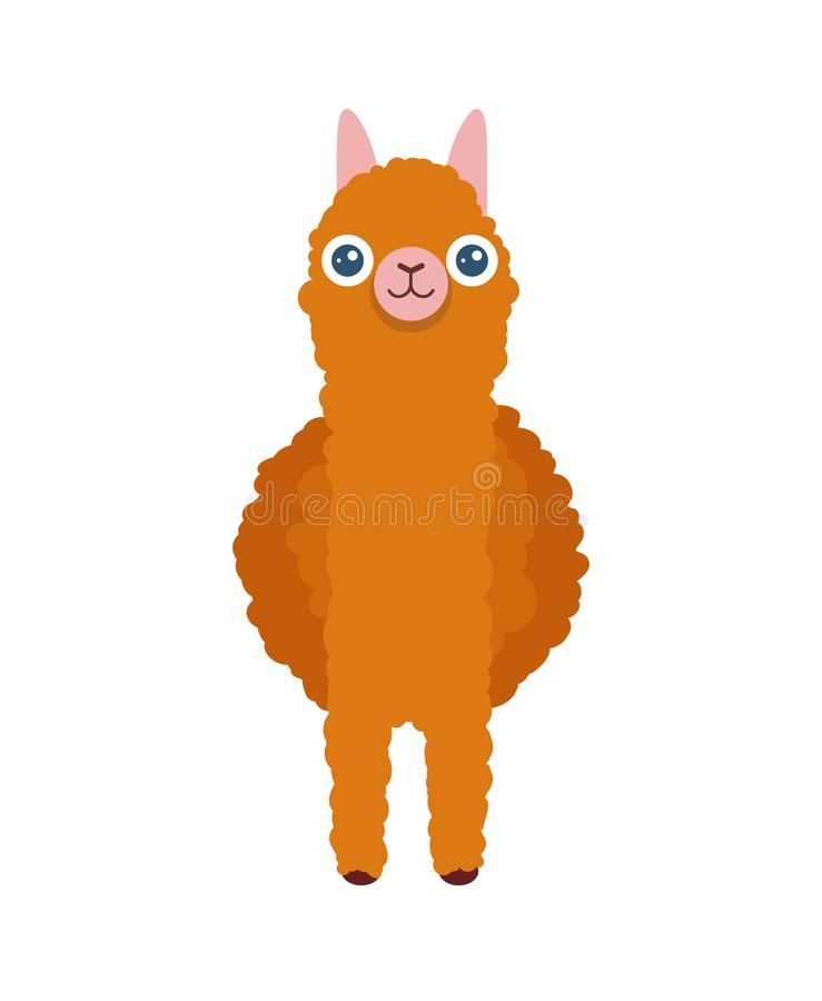Gulligt södra - amerikansk Alpaca framme Vektortecknad filmillustration av laman för affischer och greating kort stock illustrationer