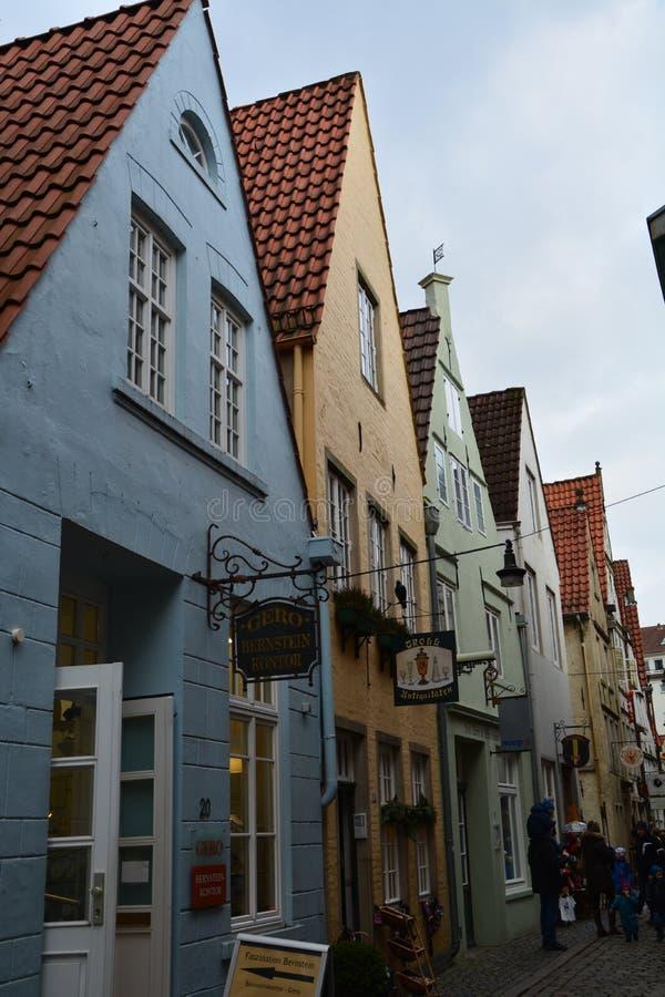 Gulligt Schnoor område i den Bremen Tyskland royaltyfri foto
