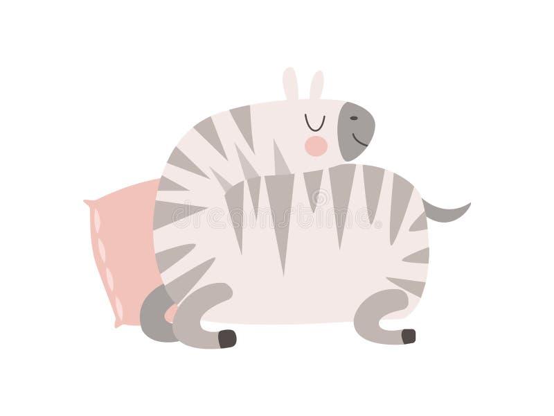 Gulligt sebradjur som sover på kuddevektorillustration royaltyfri illustrationer