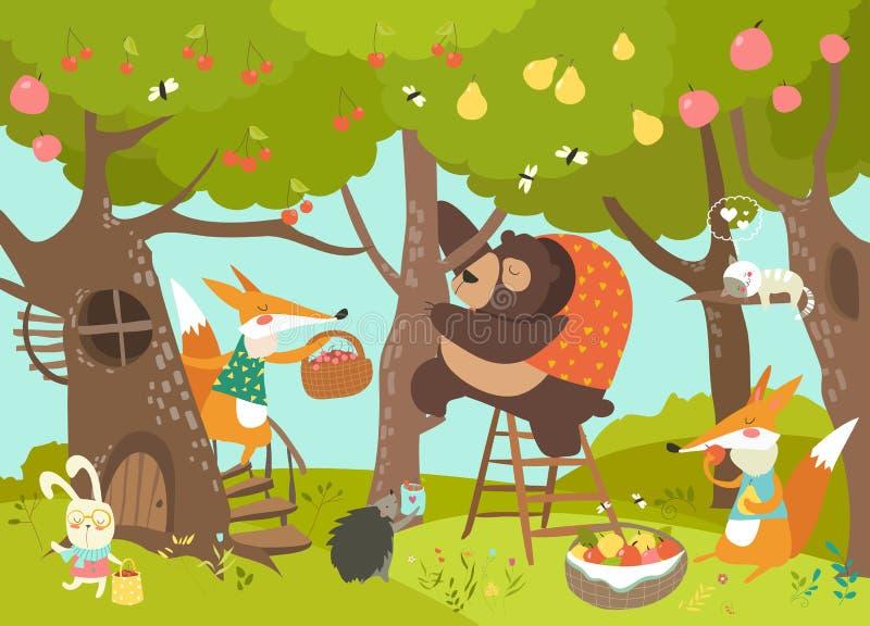 Gulligt skörda för djur stock illustrationer