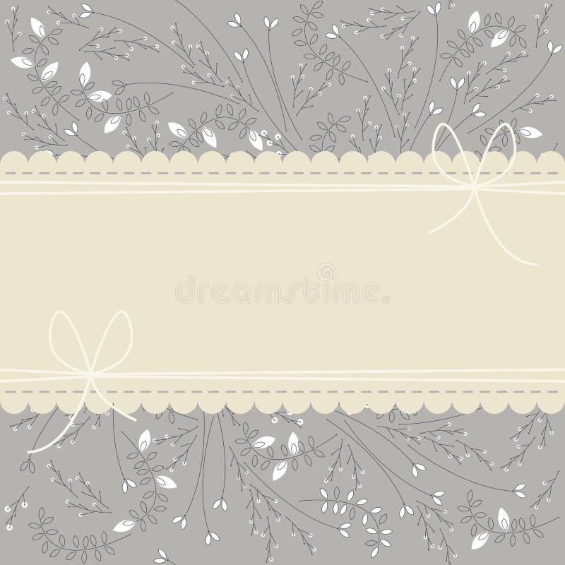 Gulligt snöra åt ramen med växter, sidor och pilbågar vektor illustrationer
