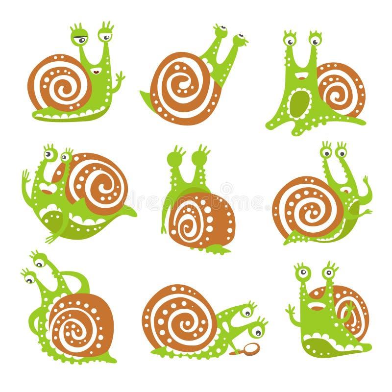 Gulligt snigeltecken - uppsättning, roligt blötdjur med olik drog vektorillustrationer för sinnesrörelser färgrik hand stock illustrationer