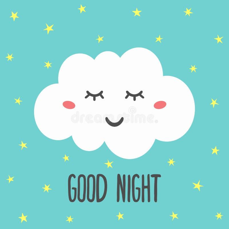 Gulligt sova moln, små stjärnor och den bra natten för text Roligt tryck, klistermärke, kort för barn royaltyfri illustrationer