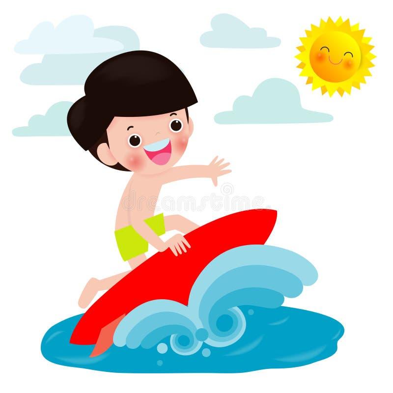 Gulligt surfarepojketecken med surfingbrädan och ridning på havvåg Lycklig ung surfaregrabb på vapenvågen, plan vektor stock illustrationer