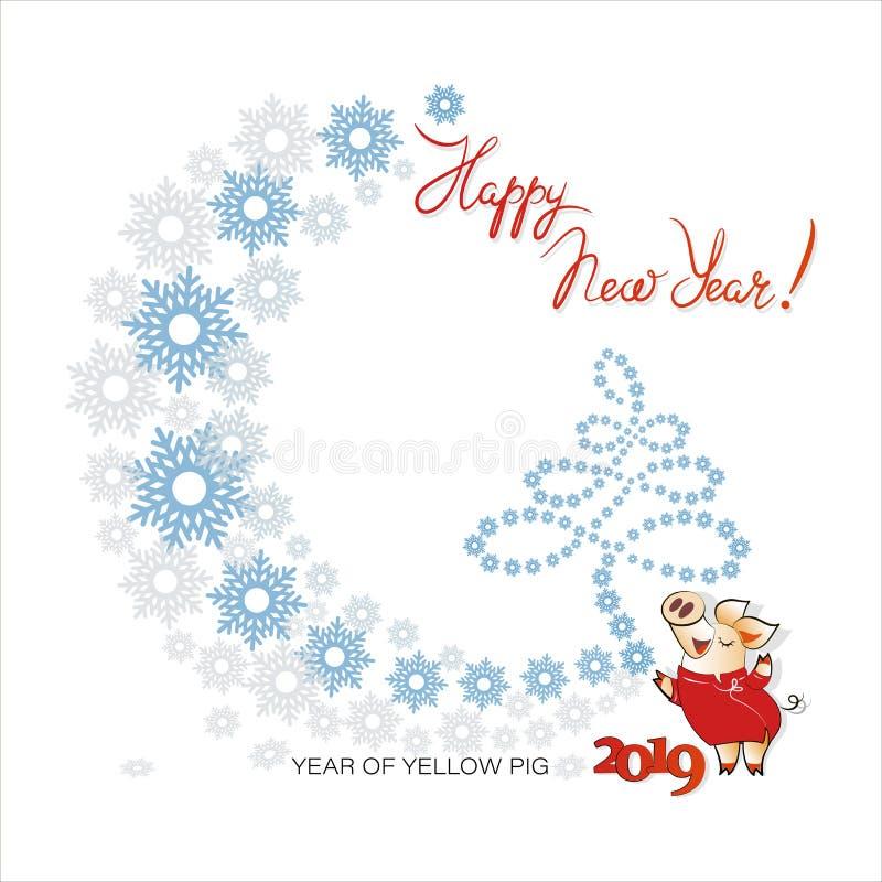 Gulligt svin med en julgran av snöflingor Lyckligt nytt år! 2019 stock illustrationer