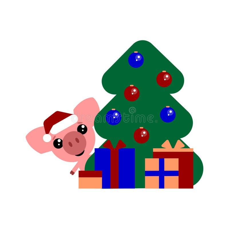 Gulligt svin, roligt tecken med gåvor lyckligt nytt år 2019 Symbol av året i den östliga kalendern Bollar på stock illustrationer