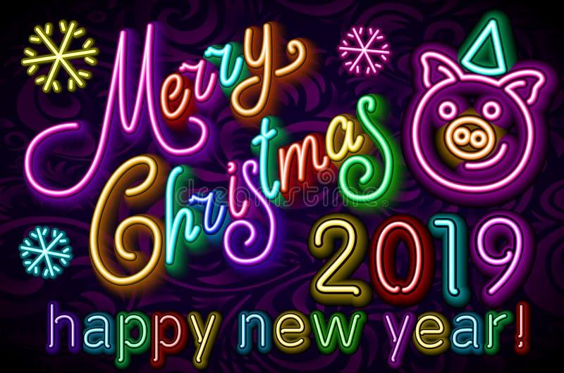 Gulligt svinneon för glad jul, colorfulldesign 2019, kinesiskt horoskopsymbol, vektorillustration för lyckligt nytt år vektor illustrationer