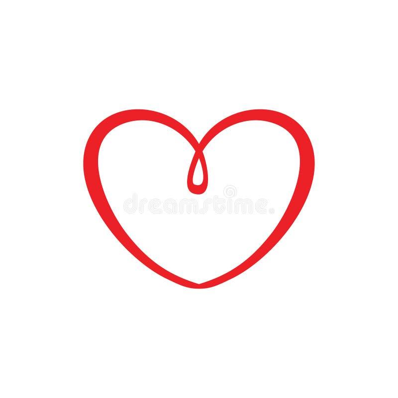 Gulligt symbol för förälskelsehjärtasymbol eller logobegrepp vektor illustrationer