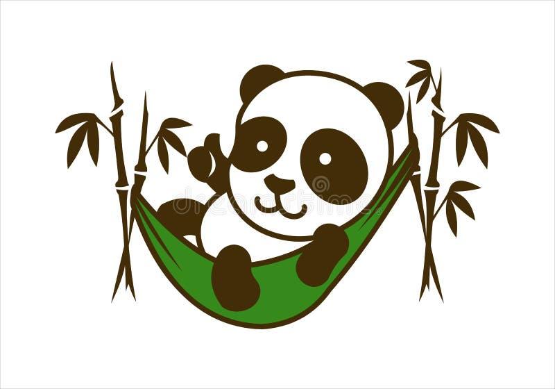 Gulligt tecken för liten panda i bambuhängmatta royaltyfri illustrationer