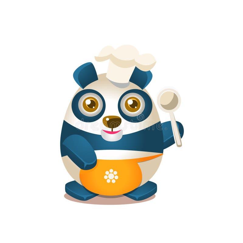 Gulligt tecken för Panda Activity Illustration With Humanized tecknad filmbjörn i kocken Outfit royaltyfri illustrationer