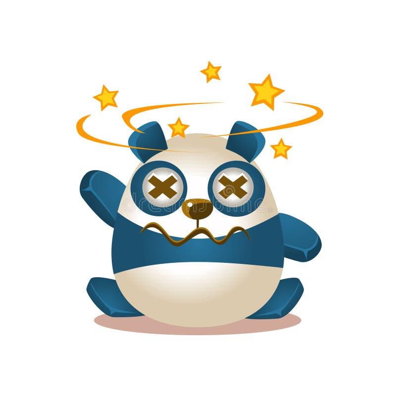 Gulligt tecken för Panda Activity Illustration With Humanized tecknad filmbjörn som ser stjärnor för ögon stock illustrationer