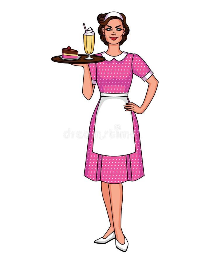 Gulligt tecken från 50 ` s av att le kvinnan i förkläde med milkshaken och efterrätten royaltyfri illustrationer