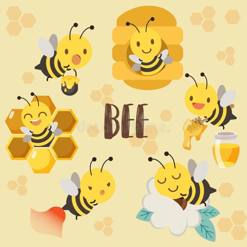 Gulligt teckenbi, bikupa av biet, honungbi, bi som sover på blomman stock illustrationer