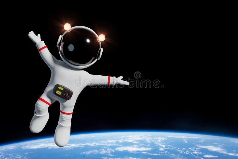 Gulligt tecknad filmastronauttecken i omloppet av illustrationen för planetjord 3d royaltyfri illustrationer