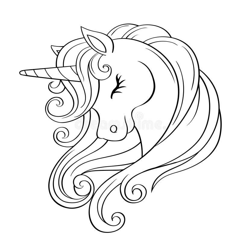 Gulligt tecknad filmenhörninghuvud med regnbågeman Svartvit vektorillustration f?r f?rgl?ggningbok royaltyfri illustrationer