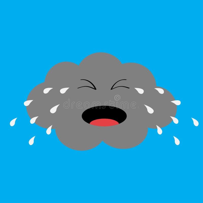 Gulligt tecknad filmkawaiimoln med regndroppar Skriande ledsen framsidasinnesrörelse Ögon och mun isolerat blå sky för bakgrund B vektor illustrationer