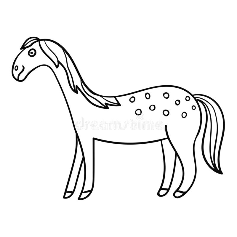 Gulligt tecknad filmklotter som ler hästen i profil stock illustrationer