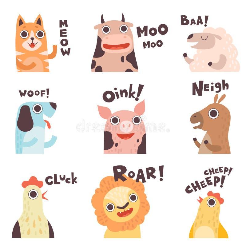 Gulligt tecknad filmlantgårddjur som gör ljud uppsättning, katt, ko, får, hund, svin, häst, höna, lejon, Chick Saying Vector vektor illustrationer