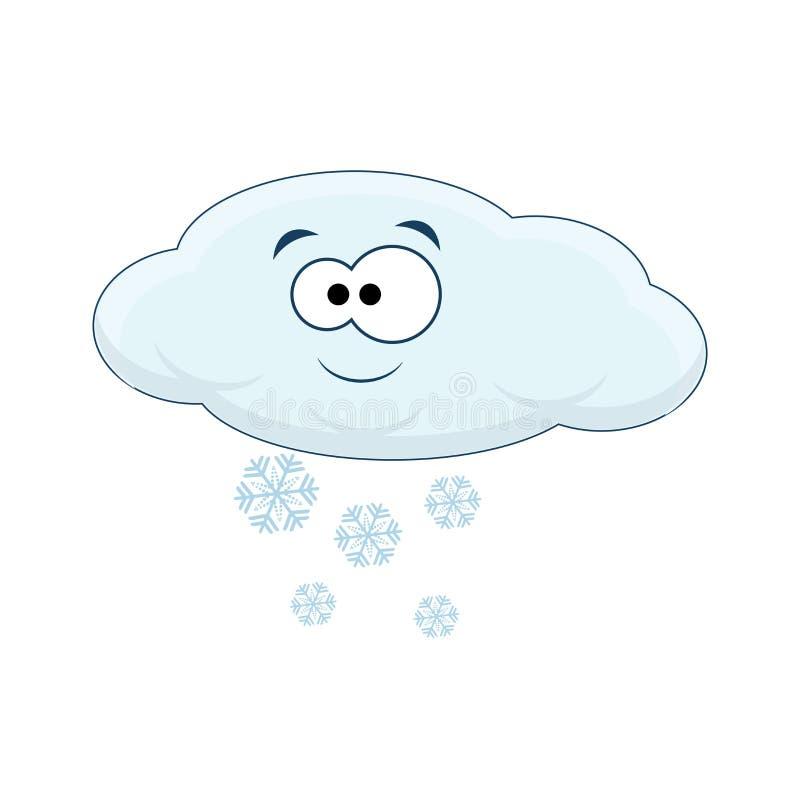 Gulligt tecknad filmmoln med snö Vektorillustration på wh royaltyfri illustrationer