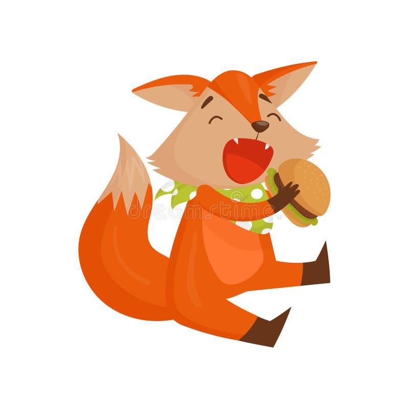 Gulligt tecknad filmrävtecken som äter hamburgaren, roligt djurt sammanträde på golvvektorillustrationen på en vit bakgrund royaltyfri illustrationer
