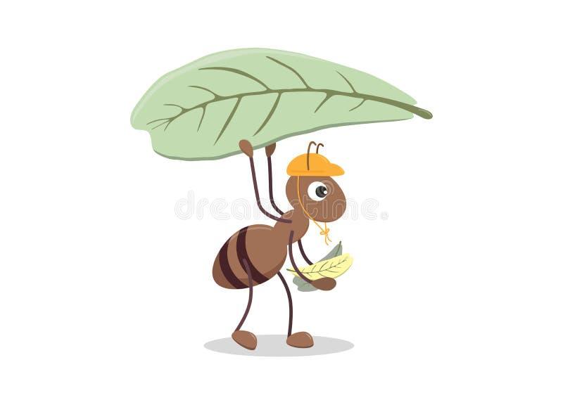 Gulligt tecknad filmtecken av myran royaltyfri illustrationer