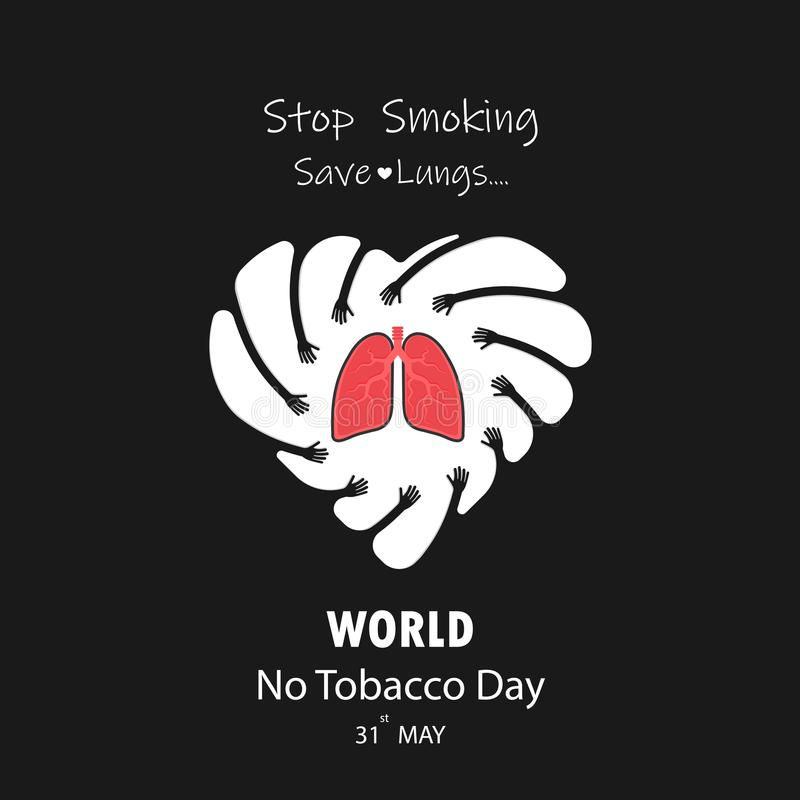 Gulligt tecknad filmtecken för hand och för lunga Stoppa att röka & spara lungor V stock illustrationer