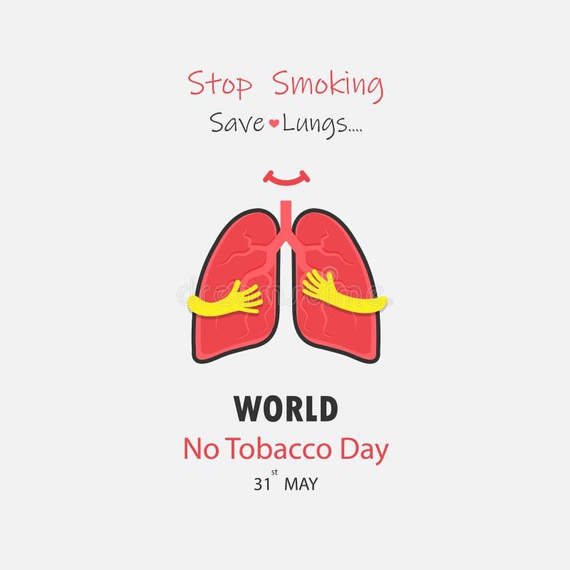 Gulligt tecknad filmtecken för lunga och vektor för stoppröka & räddninglungor vektor illustrationer