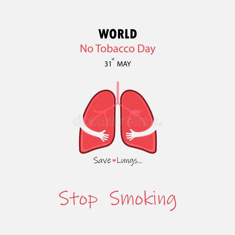 Gulligt tecknad filmtecken för lunga och vektor för stoppröka & räddninglungor royaltyfri illustrationer
