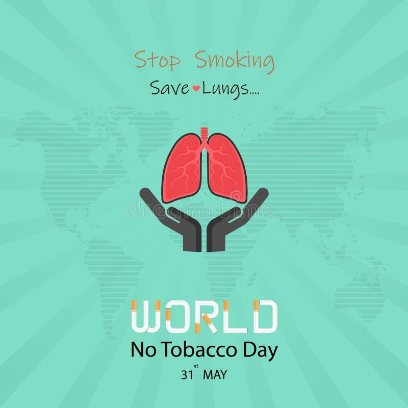 Gulligt tecknad filmtecken för lunga och vektor för stoppröka & räddninglungor stock illustrationer