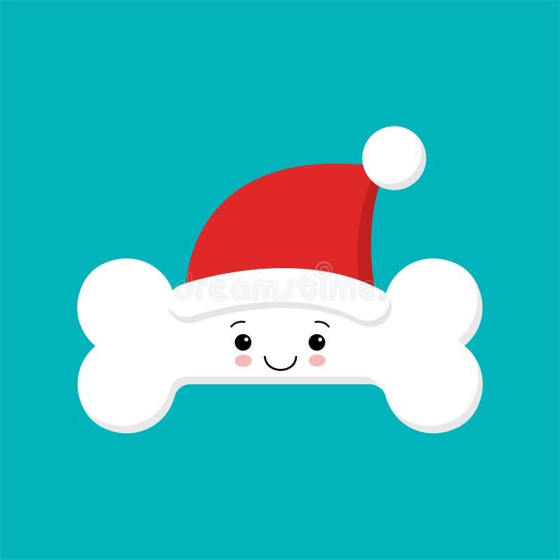 Gulligt tecknad filmtecken för mänskligt ben i jultomtenhatt Kroppanatomibeståndsdel, vård- medicinskt tecken, inre organ, männis royaltyfri illustrationer
