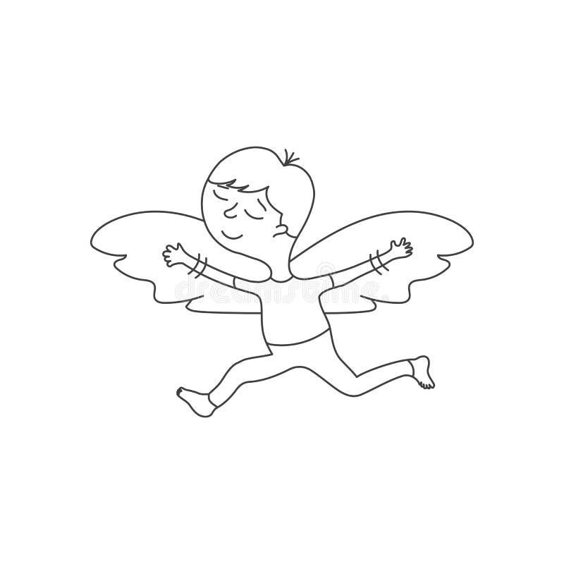 Gulligt tecknad filmtecken med vingar i en linjär stil på vit bakgrund royaltyfri illustrationer