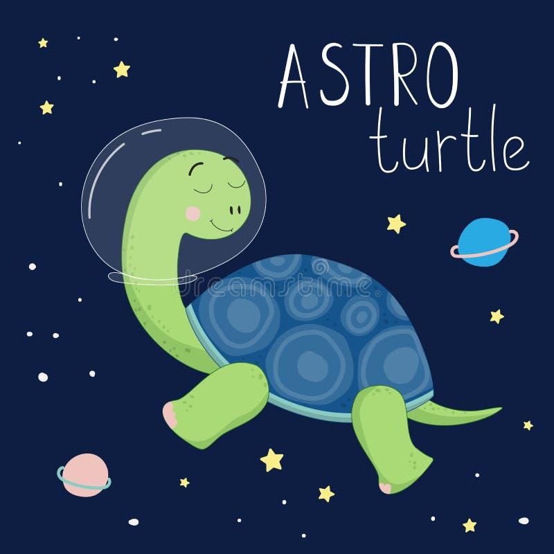 Gulligt tecknad filmtryck med en sköldpadda i utrymme stock illustrationer
